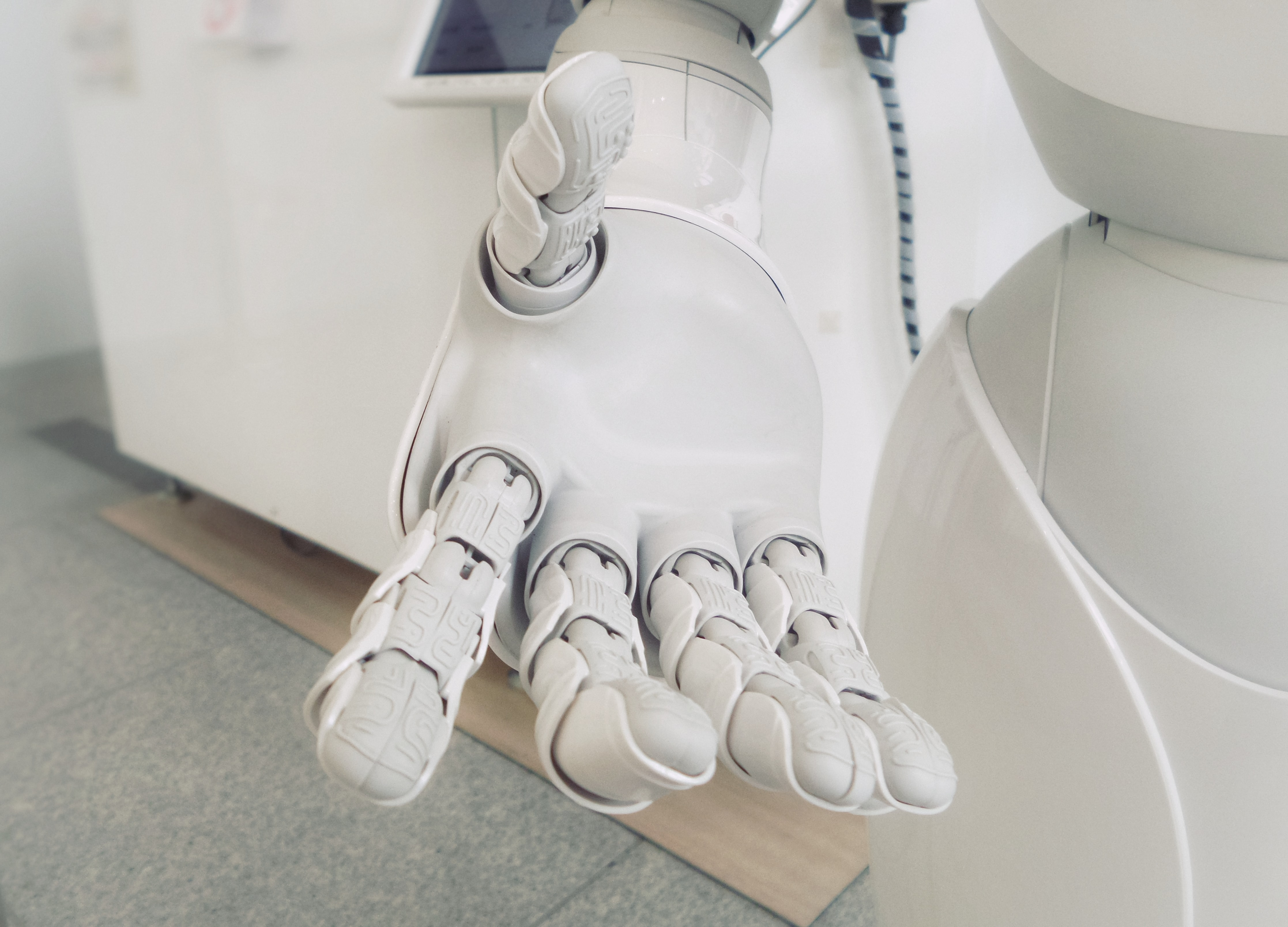 Robot hand stretched out to you