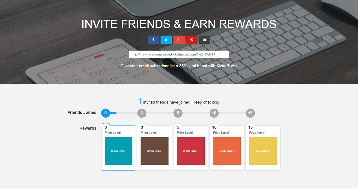 KickoffLabs Viral Thank You Referrals/Rewards Pages
