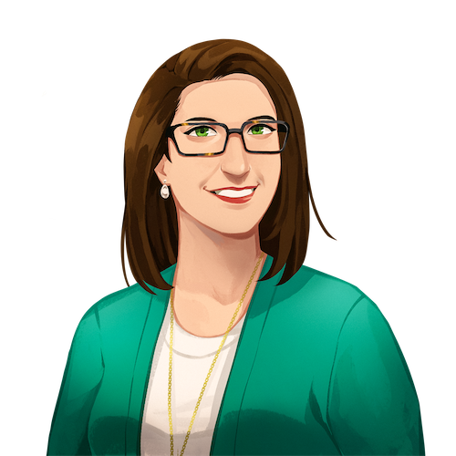 An illustrated portrait of Jenna