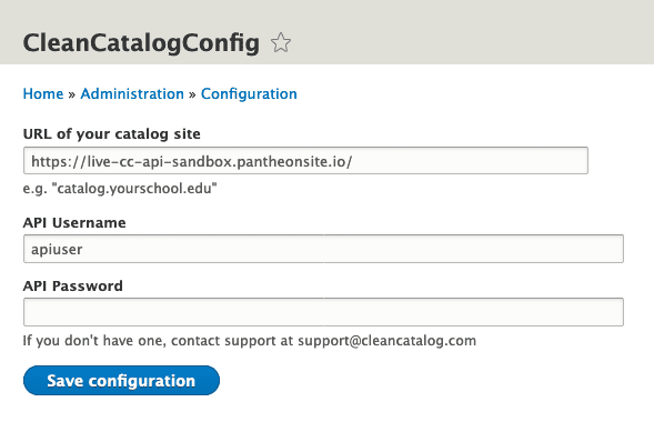 Clean Catalog Drupal 8 Module Configuration