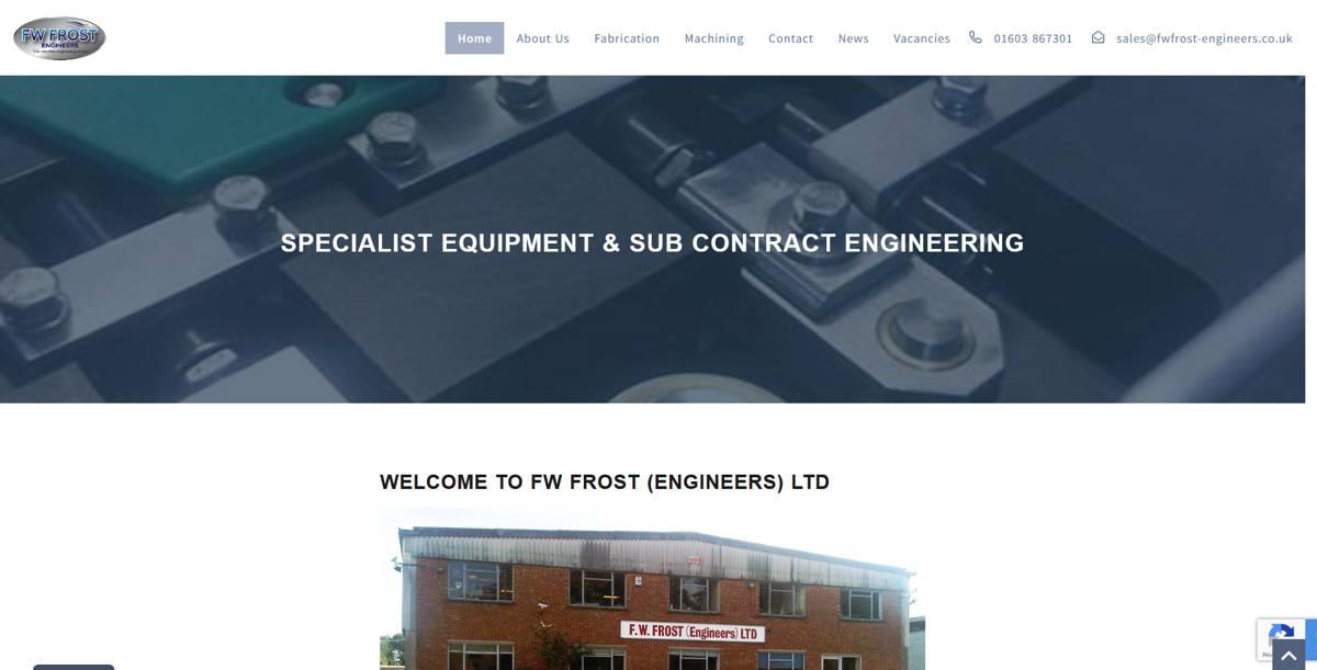 F.W.Frost (Engineers) Ltd website frontpage