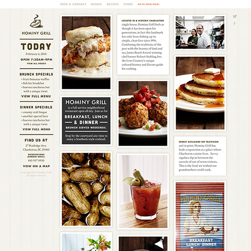 Screenshot of the Hominy Grill home page