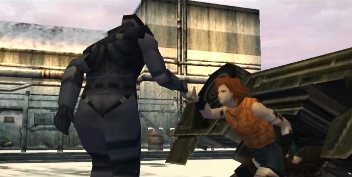 Metal Gear Solid, PSX, Snake helps Meryl out of the burning jeep