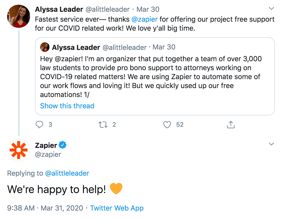 "A positive comment tweeted at @zapier. @zapier responds: ""We're happy to help!"""