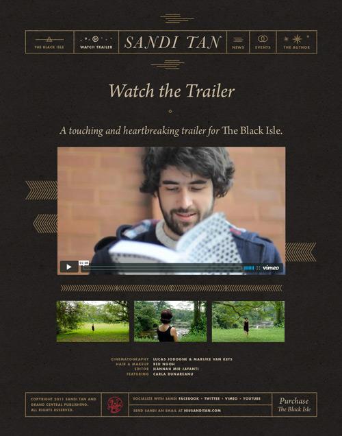 Screenshot of the Sandi Tan trailer page