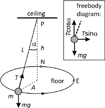 Diagram of an object in conical motion, accompanied by a free body diagram