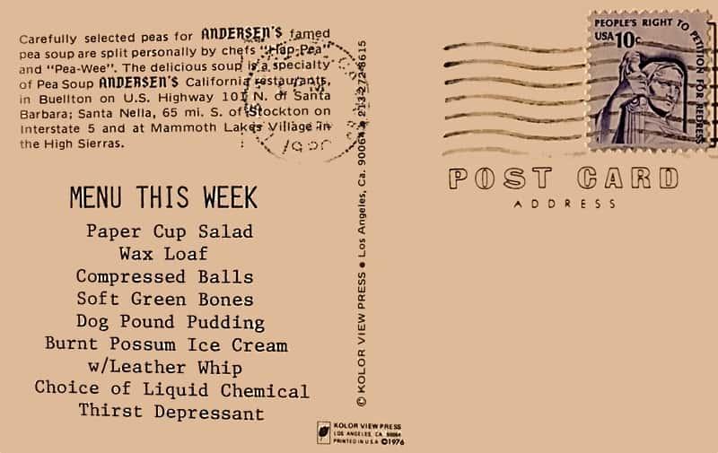 menu postcard
