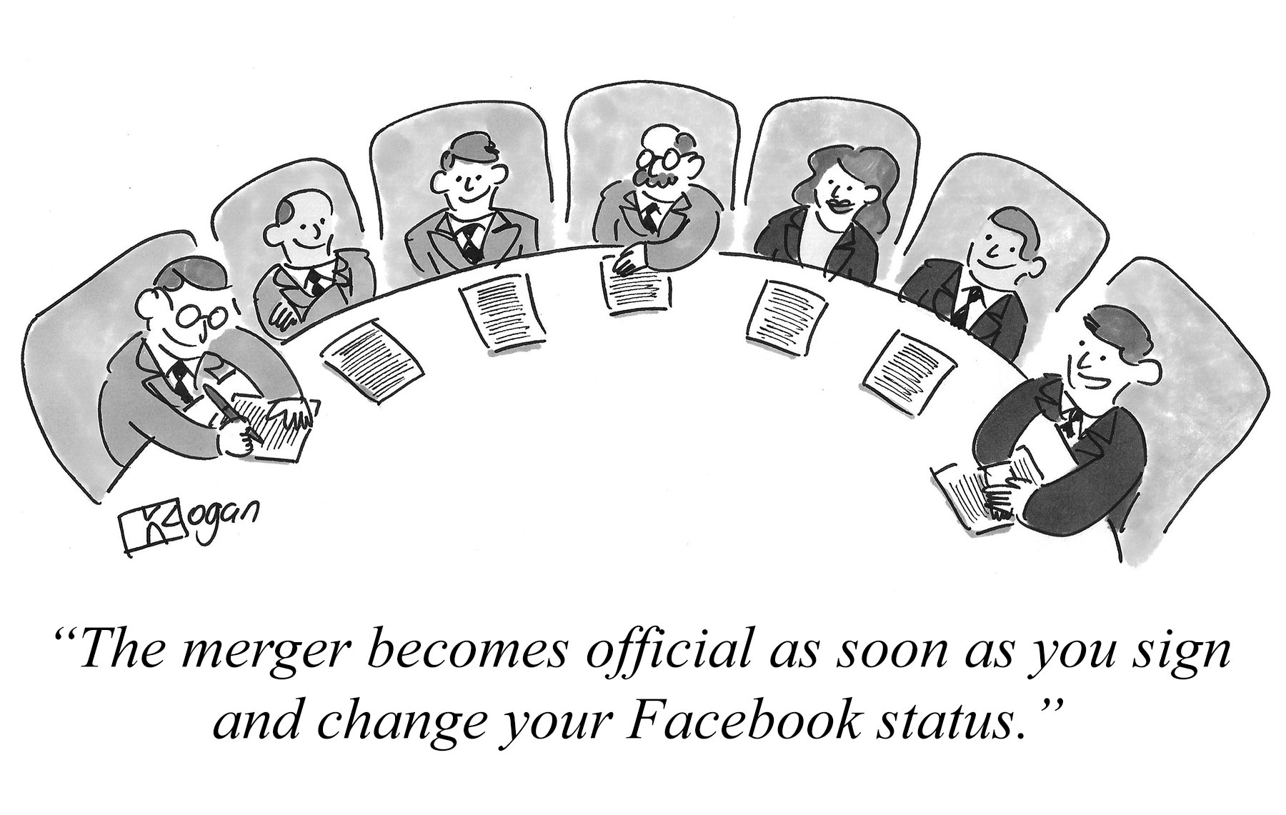 The merger becomes official as soon as you sign and change your Facebook status.