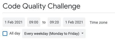 Code Quality Challenge Calendar settings