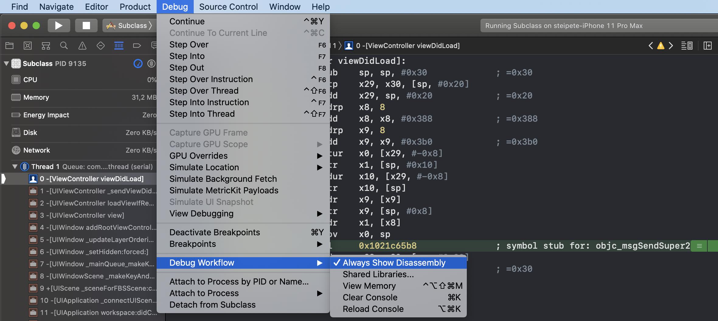 Xcode Assembly Debugger