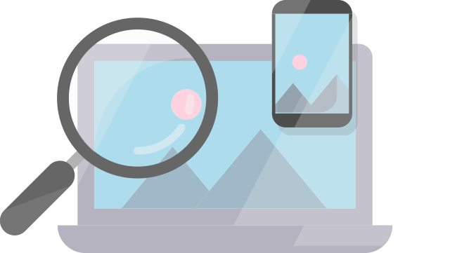 Magnifying glass in front of a laptop and mobile with the same landscape,              represents someone looking to build a website.