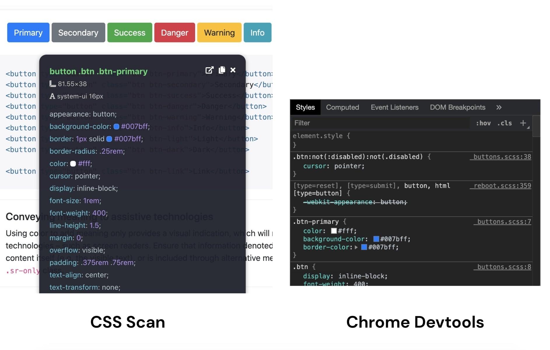 Side by side comparison - CSS Scan vs Chrome Devtools