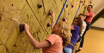 Climbing wall at Potters Resort