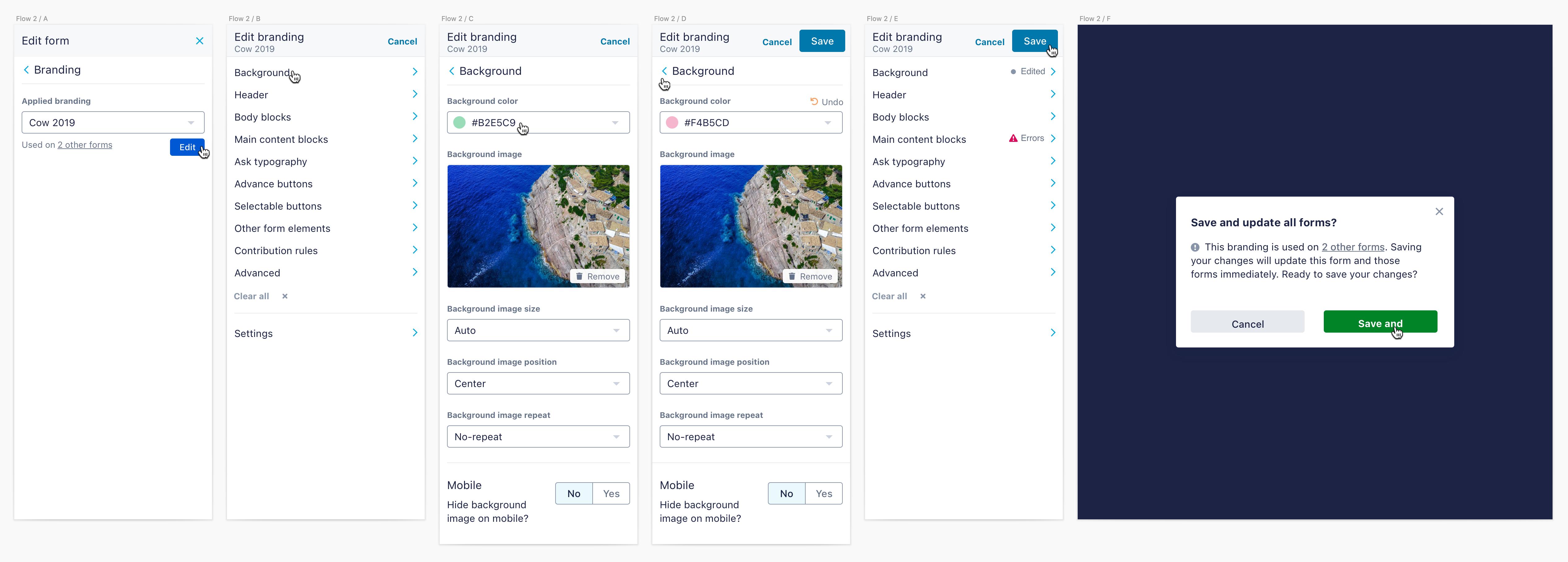 a screenshot of UI for editing an existing branding