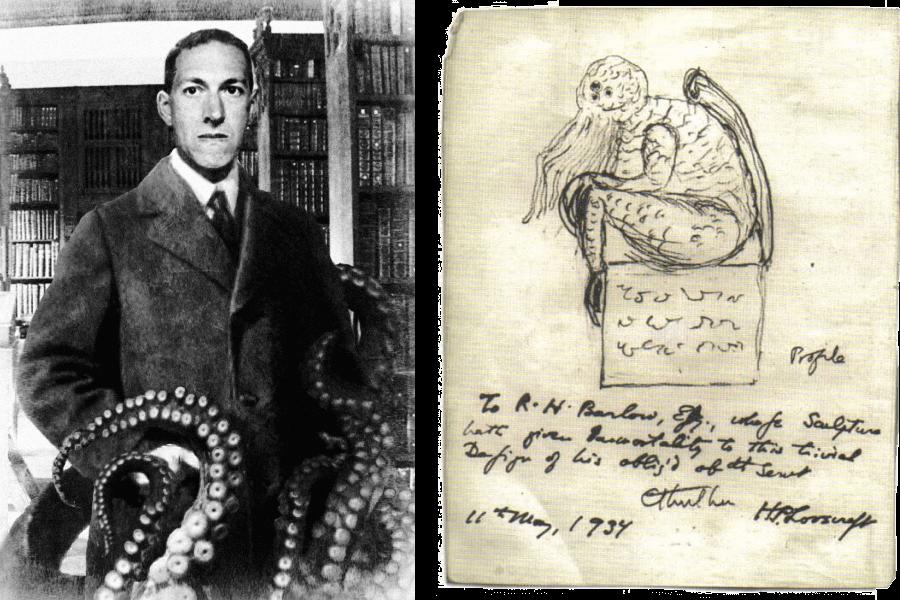 Слева — Говард Лавкрафт, справа — нарисованный им Ктулху (1934). Источник: Wikimedia Commons