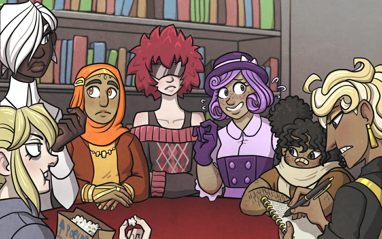 Tiffani, Riko, Yusra, Aoi, Honoka, Kapono, and Salvatore sit in a circle in the library.