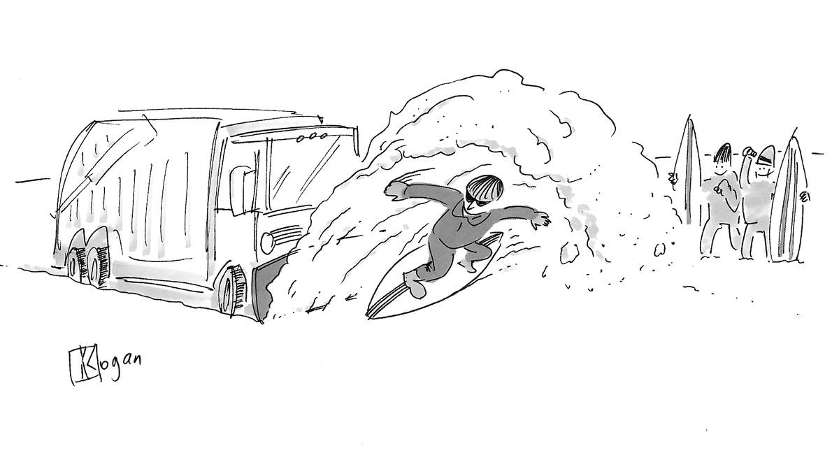 (Boy surfs wave of snow caused by snow plow.)