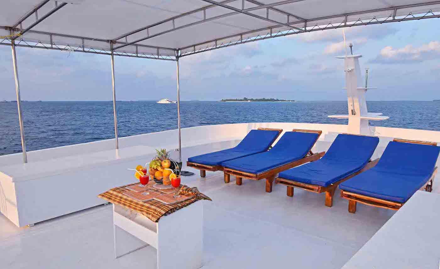 Blue Horizon 2 Surf Charter Boat Maldives Lounging