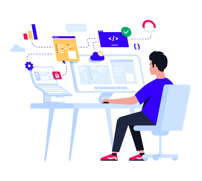 Software developer sat at his desk and concentrating on a project