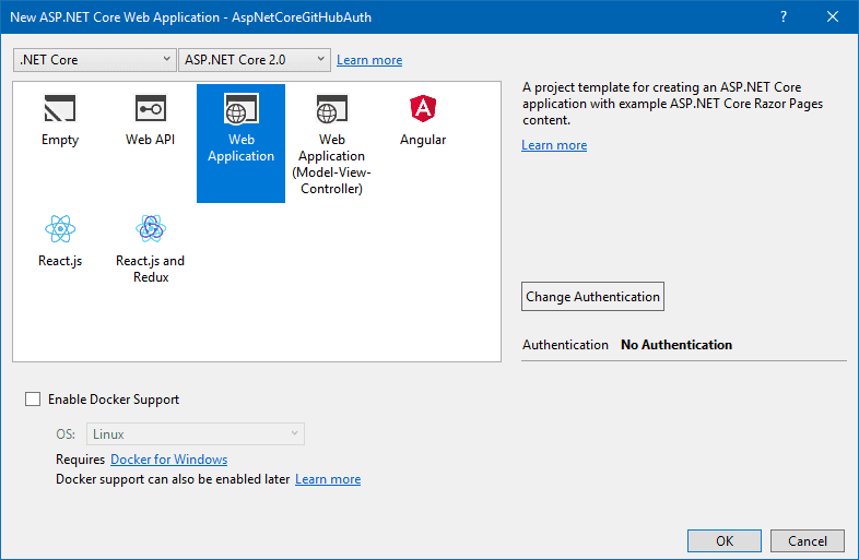 Select ASP.NET project type