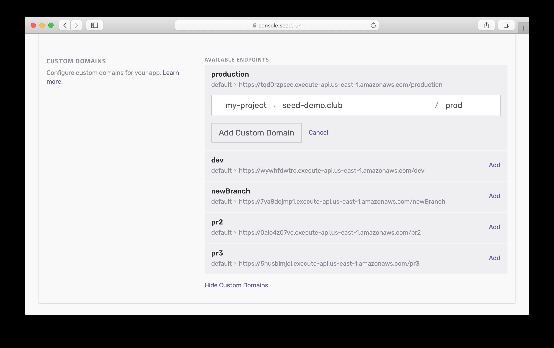 Configure Custom Domain parts