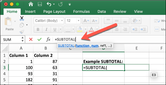 An Excel worksheet with the SUBTOTAL formula typed into the formula bar