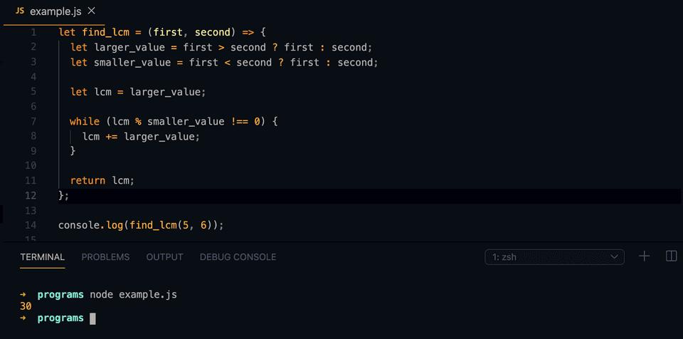 javascript find lcm example
