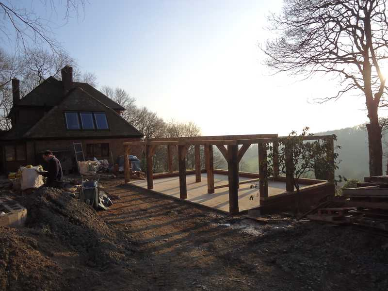 Pillars erected for a new timber framed garage on top of a concrete base for a client's property in Malvern