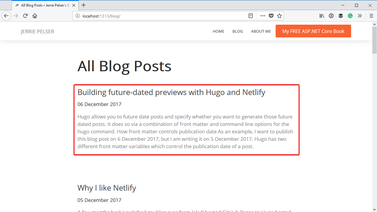 Future dated blog post generated