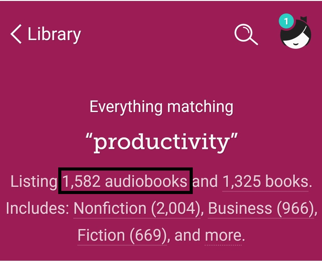 A screenshot showing how to filter search results by eAudiobooks.