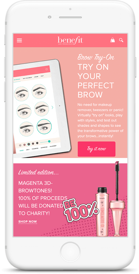 iPhone showing benefit cosmetics site.