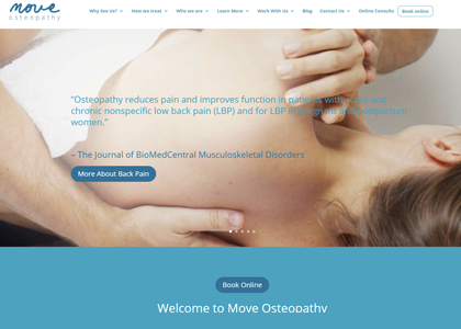 Move Osteopathy Website Screenshot