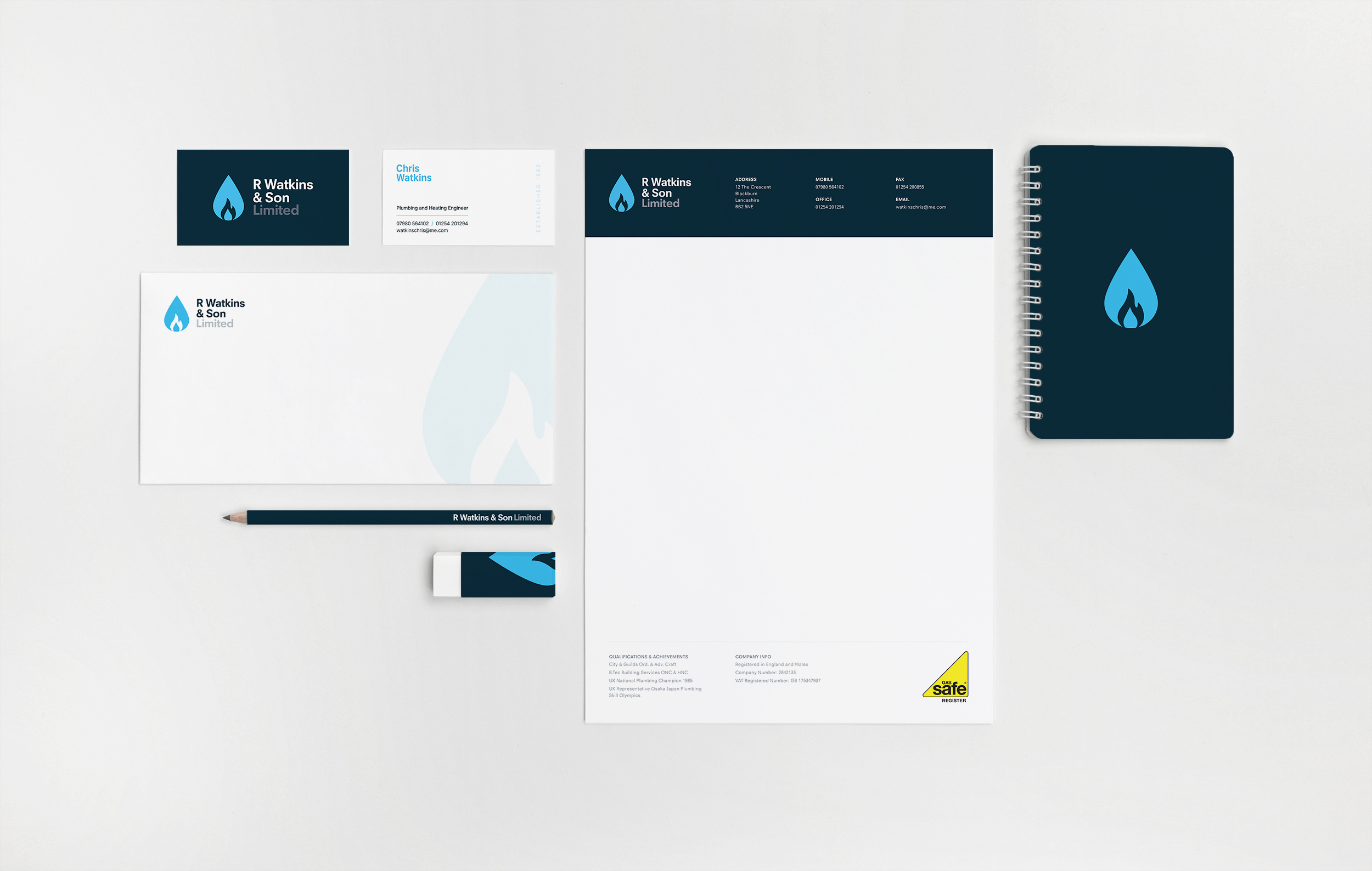 Branding and identity design for established plumbing and heating business, R Watkins & Son Limited