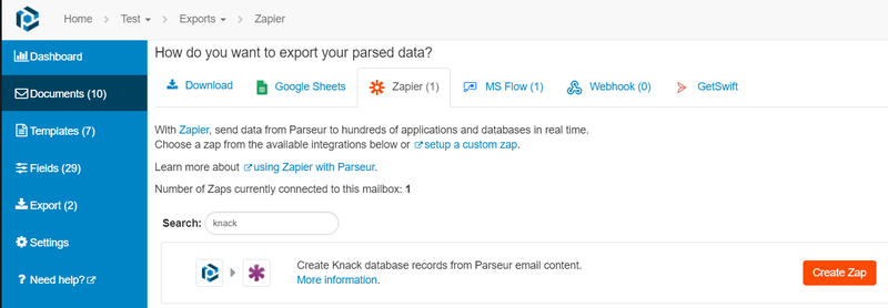 Export parsed data to knack database