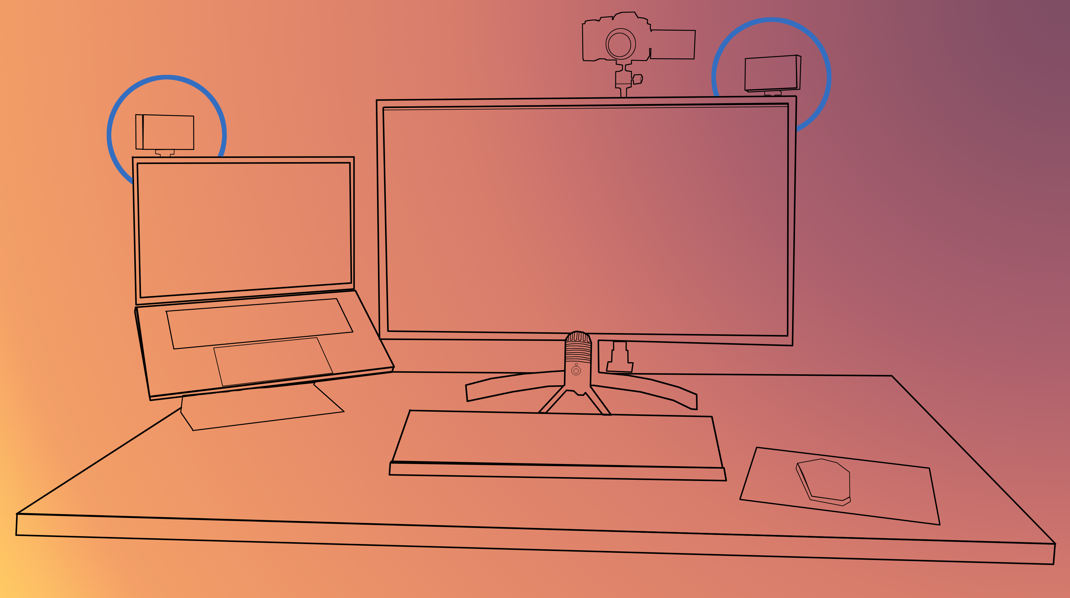 Desk diagram with the lights circled
