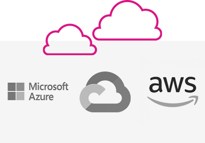 collage of supported cloud integrations - Google Cloud, Microsoft Azure, AWS etc.