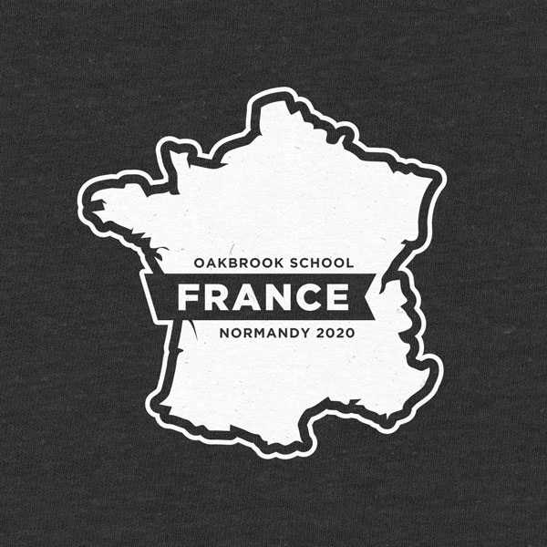 School trip hoodie design with a map of France