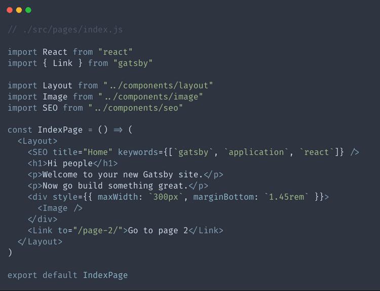 Index.js file before we make changes