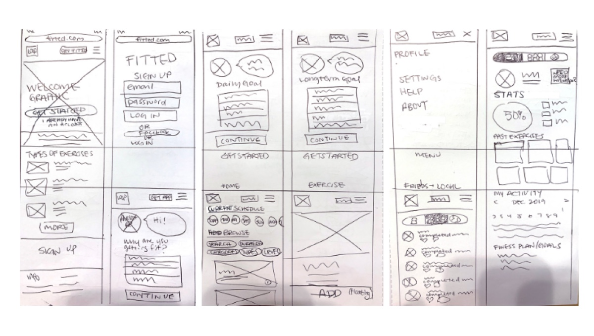 Initial sketches for the Fitted app, by Michelle Lock