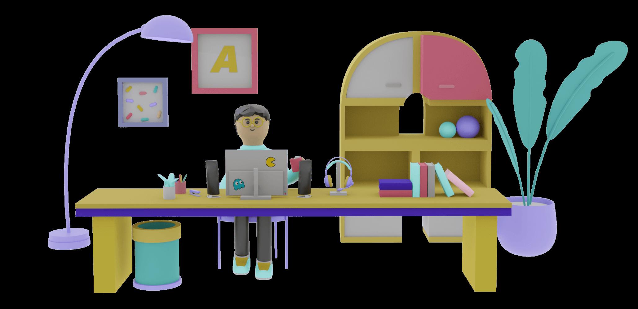 A 3D character representing me