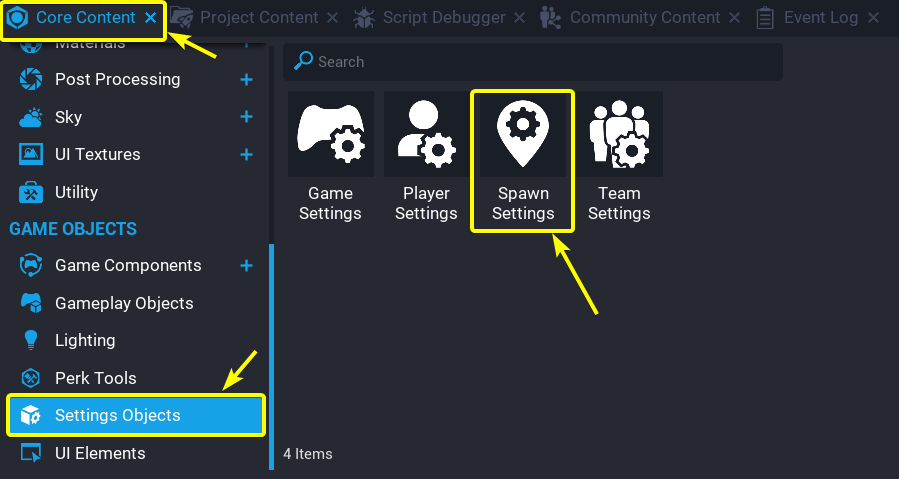 Where to find spawn settings