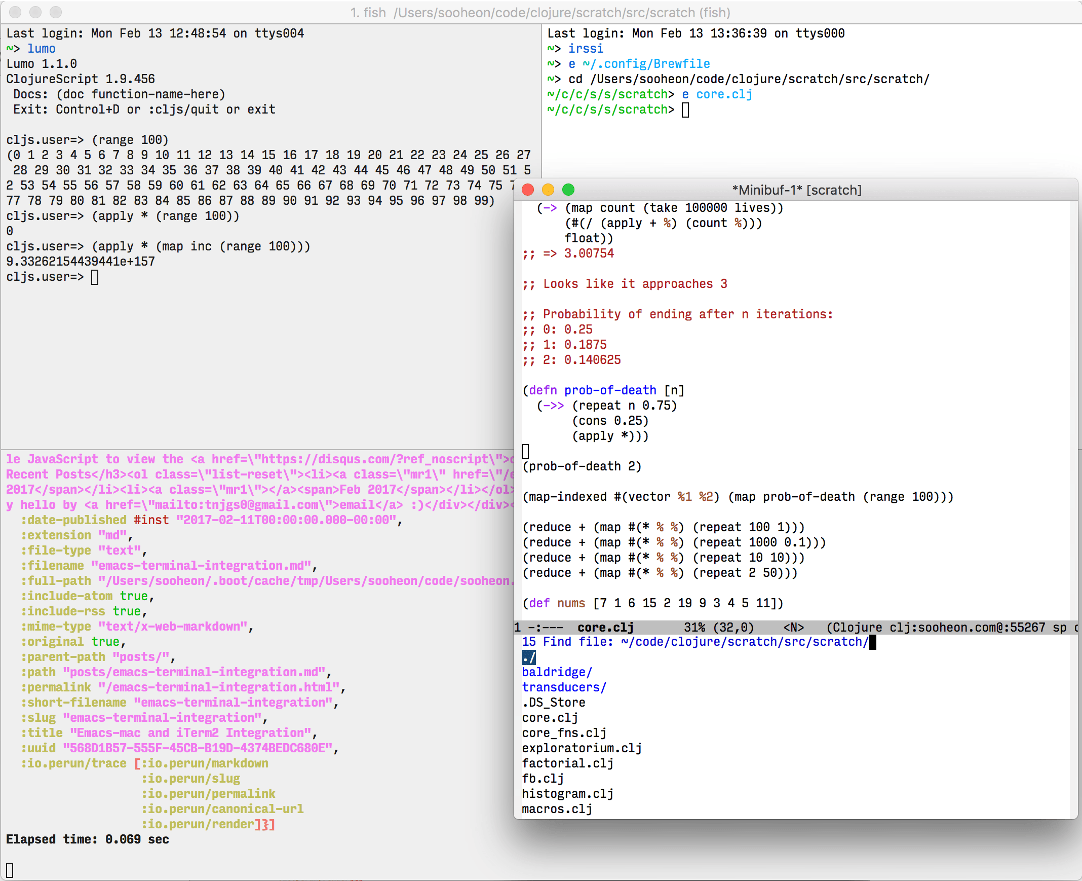 My Emacs-iTerm workflow