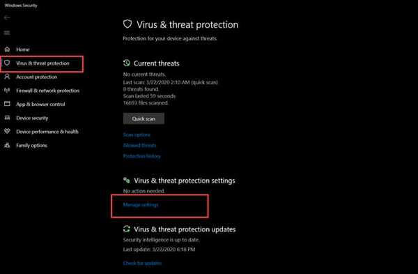 manage setting windows defender