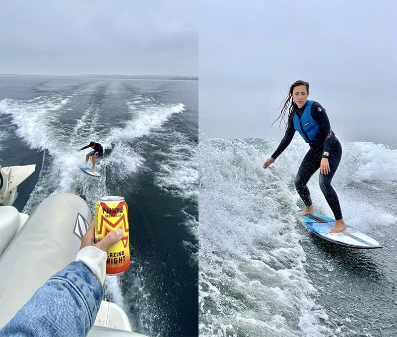 (Left) Enjoying Pyramid Blazing Bright on the boat while friend surfs. (Left) Wake surfing in the Seattle Washington Puget Sound.