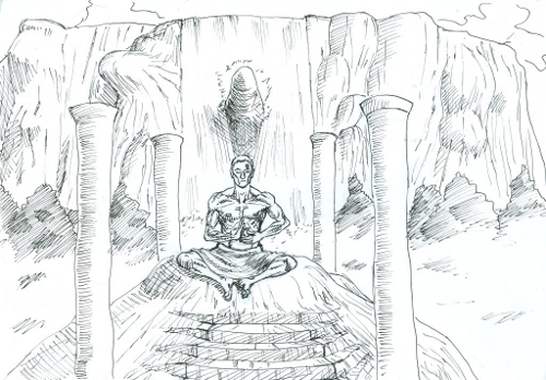 Monk Meditating Sketch