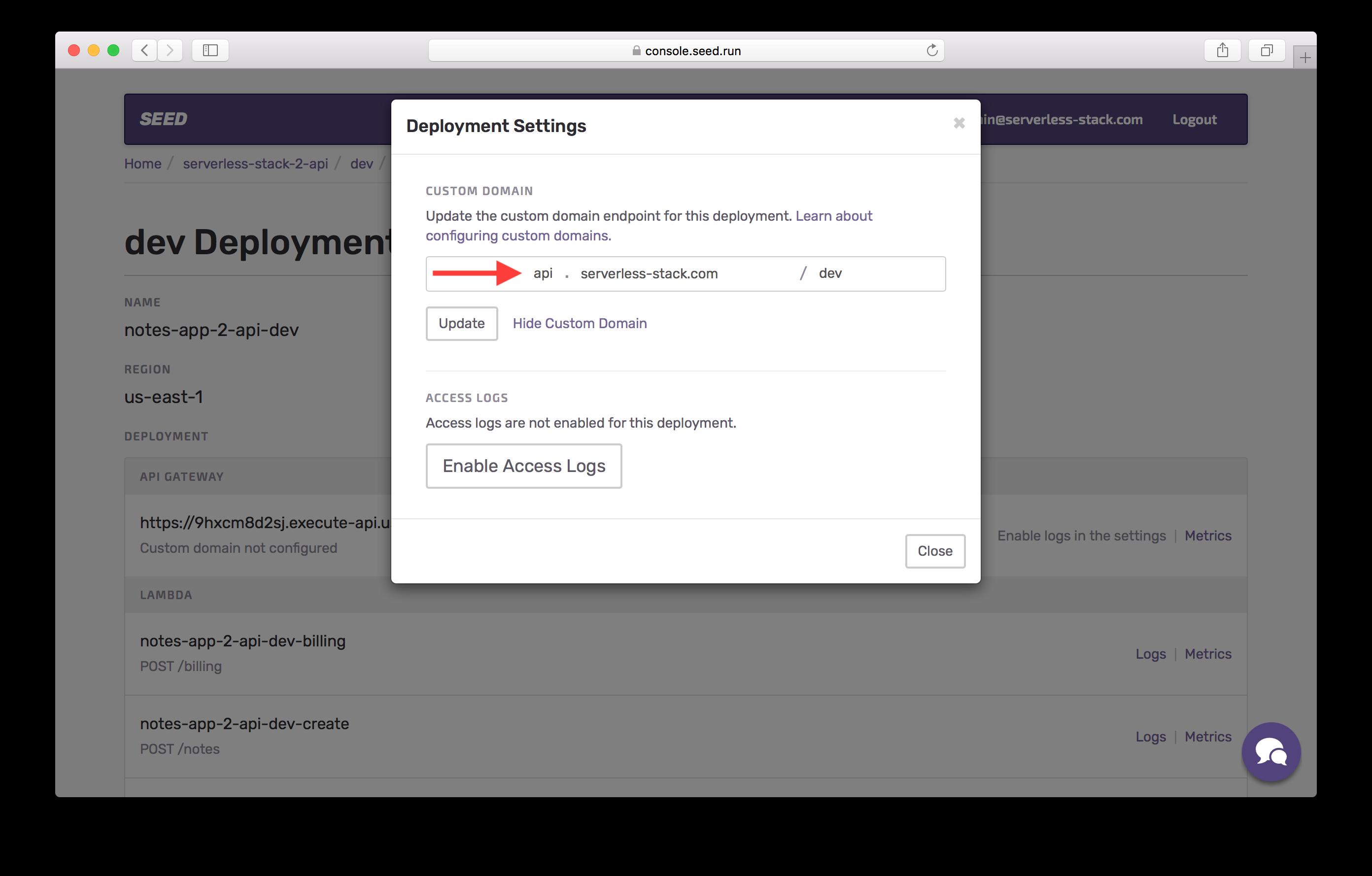 Custom domain details dev screenshot