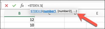 An Excel worksheet with an arrow pointing to the formula bar where the STDEV.S formula has been entered, with hints appearing as to what arguments are available