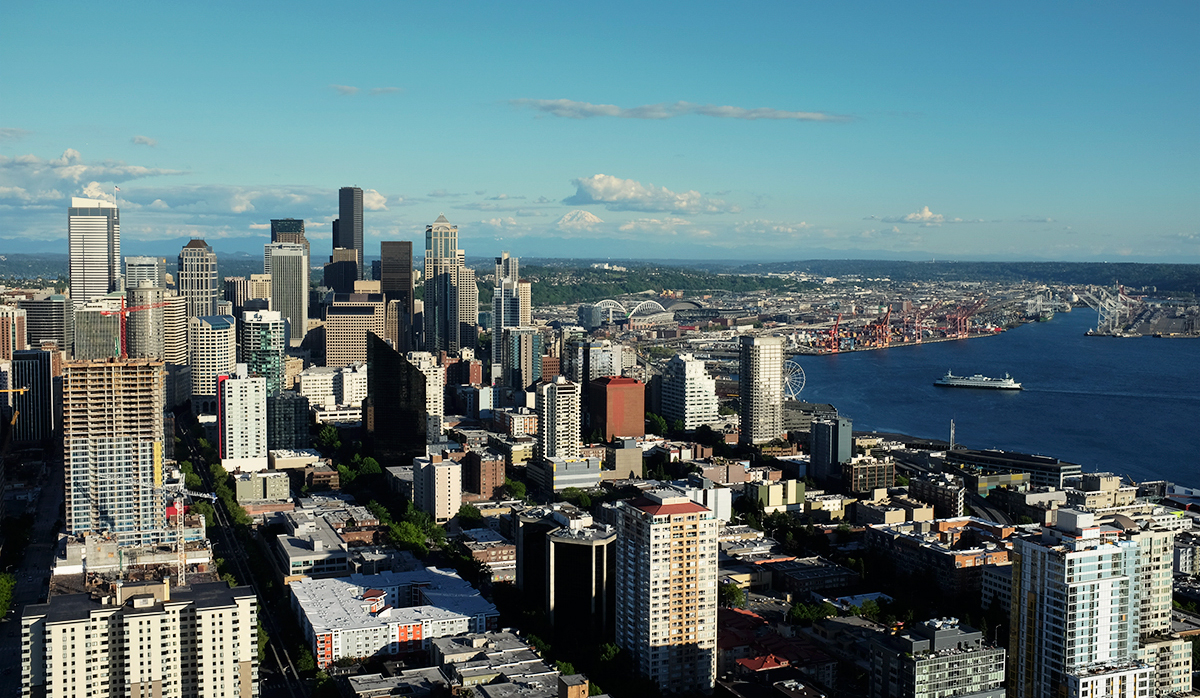 View of downtown Seattle and Puget Sound from on high on the Space Needle