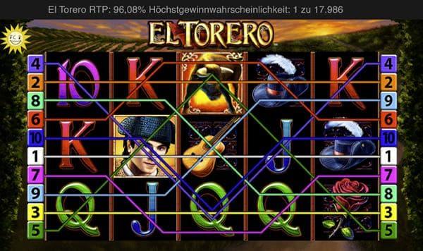 el torero merkur slot übersicht mit gewinnlinien zu beginn der slot