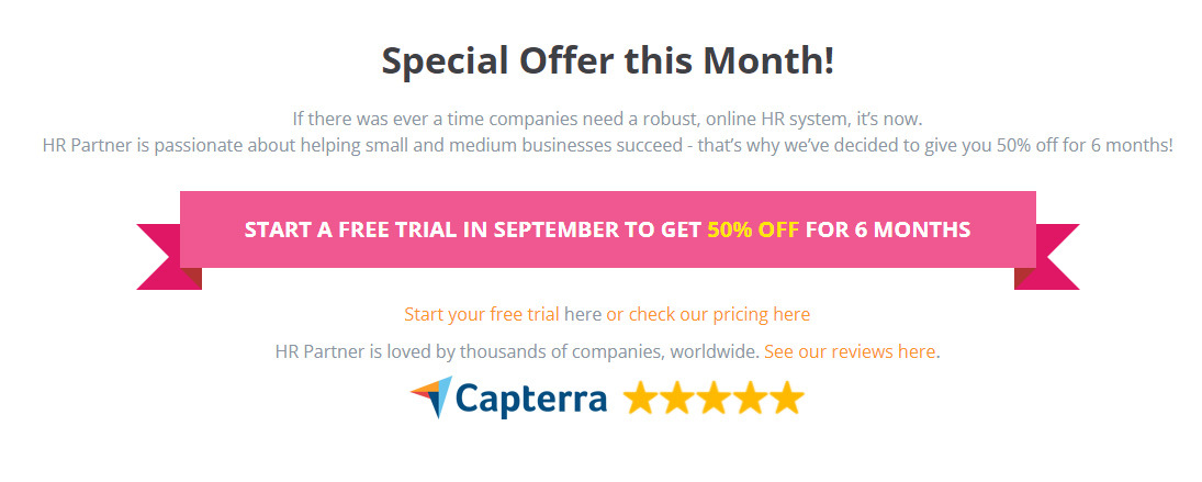SaaS Landing Page Tips with Josh Garofalo: Screenshot of HR Partner's special offer